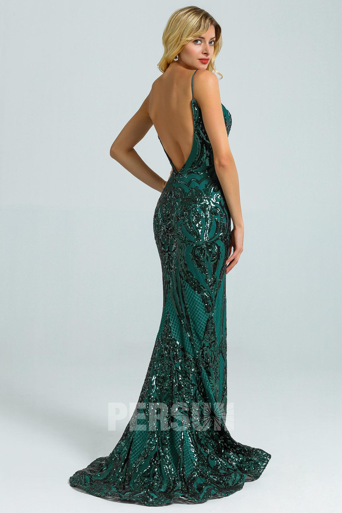 Chic robe de soirée sirène vert sapin en dentelle de sequins dos nu