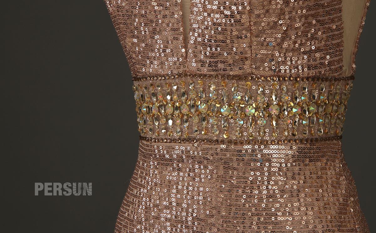 robe sequin champagne doré embellie de strass paillette à la taille