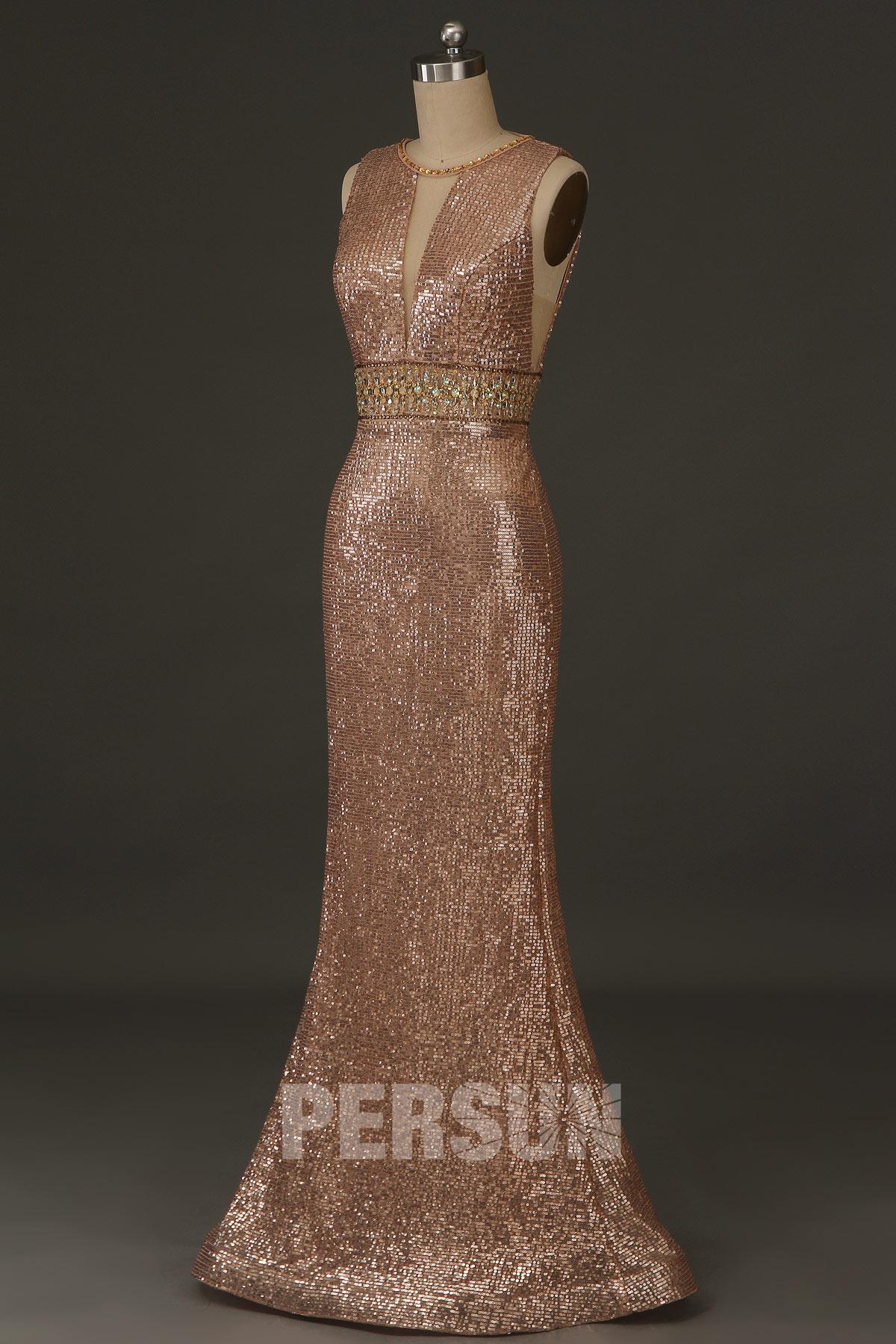 robe de soirée 2020 sirène longue bustier découpé en sequins ornée de bijoux
