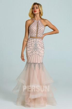 Robe de soirée 2020 sirène rose pâle parsemé de bijoux et jupe froufrou