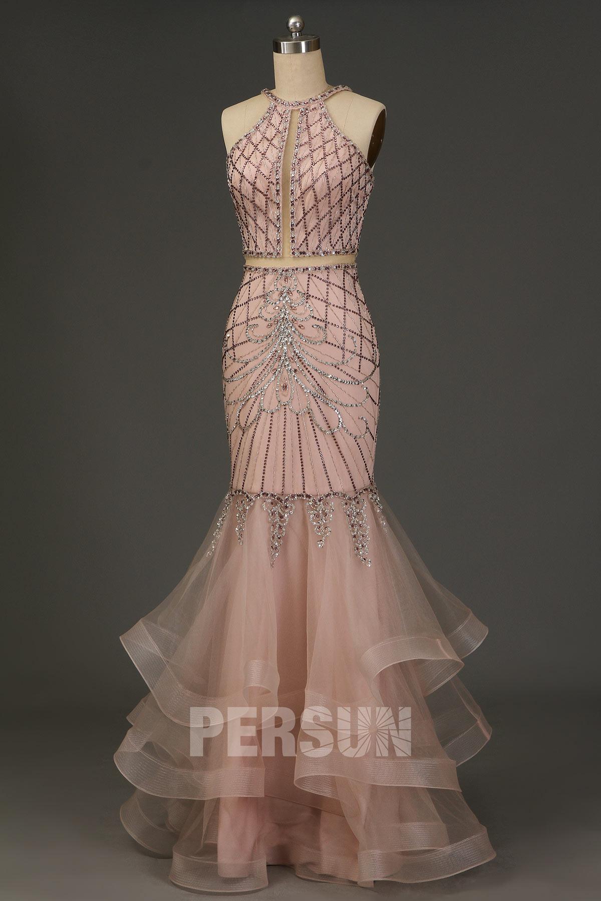 robe de soirée sirène rose pâle col halter effet deux pièces brodé bijoux exquis