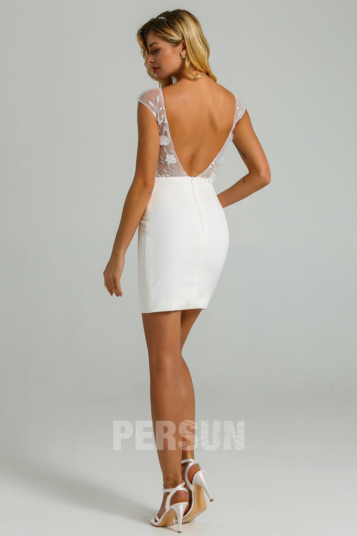 robe de mariée civil courte fourreau dos nu