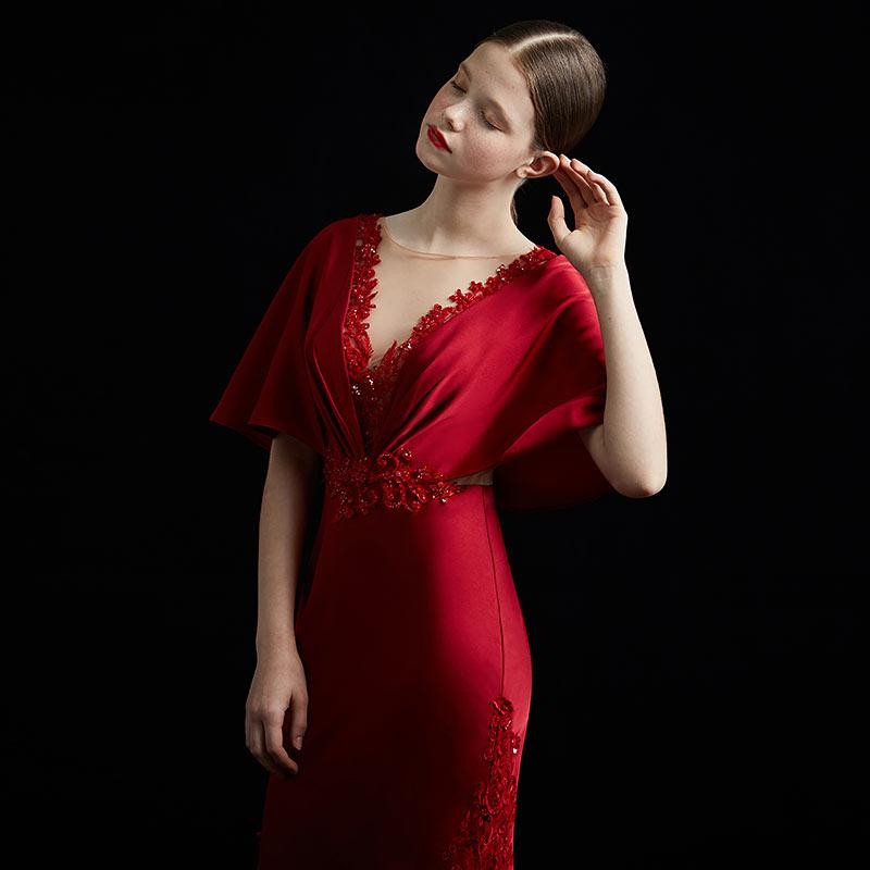 élégante robe de soirée longue sirène rouge pas cher ornement de dentelles et sequins pour mariage gala