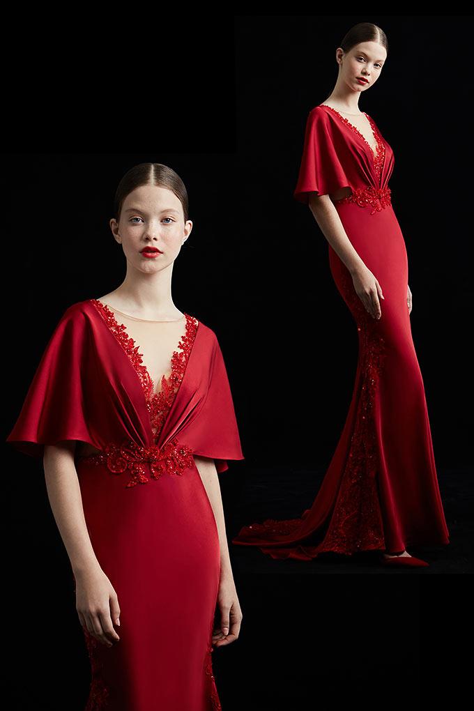 robe de cérémonie roug e2019 avec manche évasée