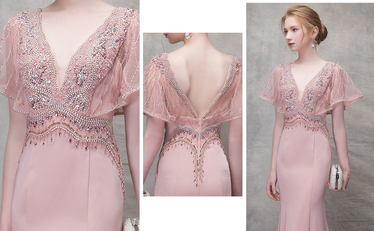 robe de fiançailles rose longue sirène garni de perles 2019