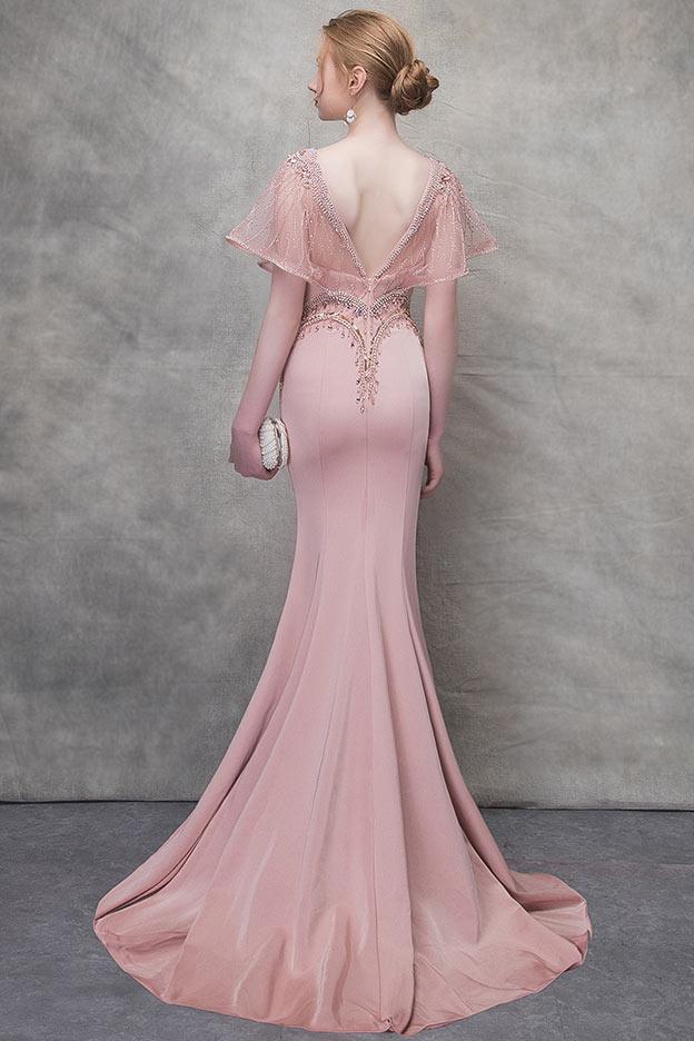 Robe de soirée vieux rose sirène à haut embelli de bijoux & perles