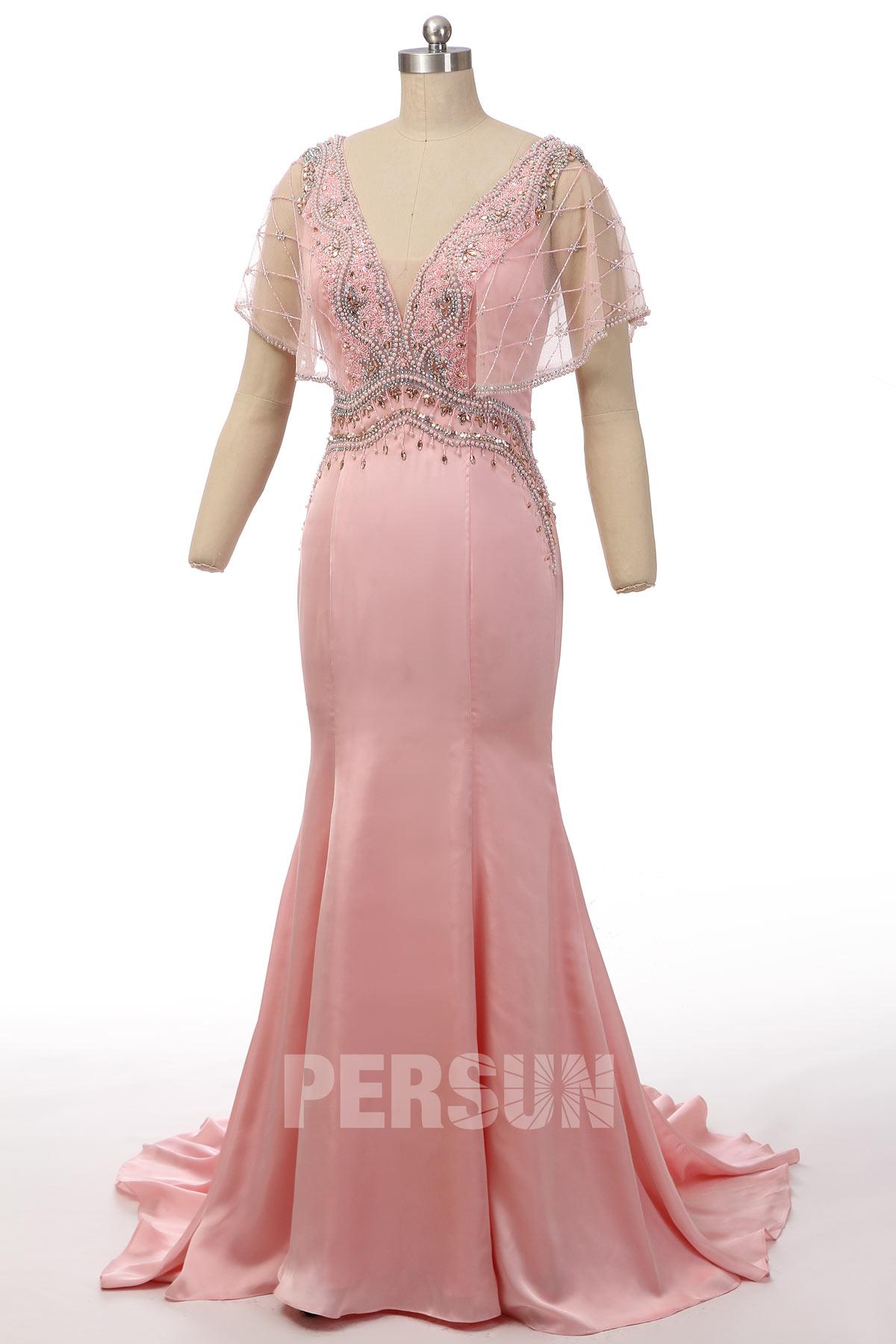 robe de soirée sirène rose col v ornée de bijoux avec manche courte évasée