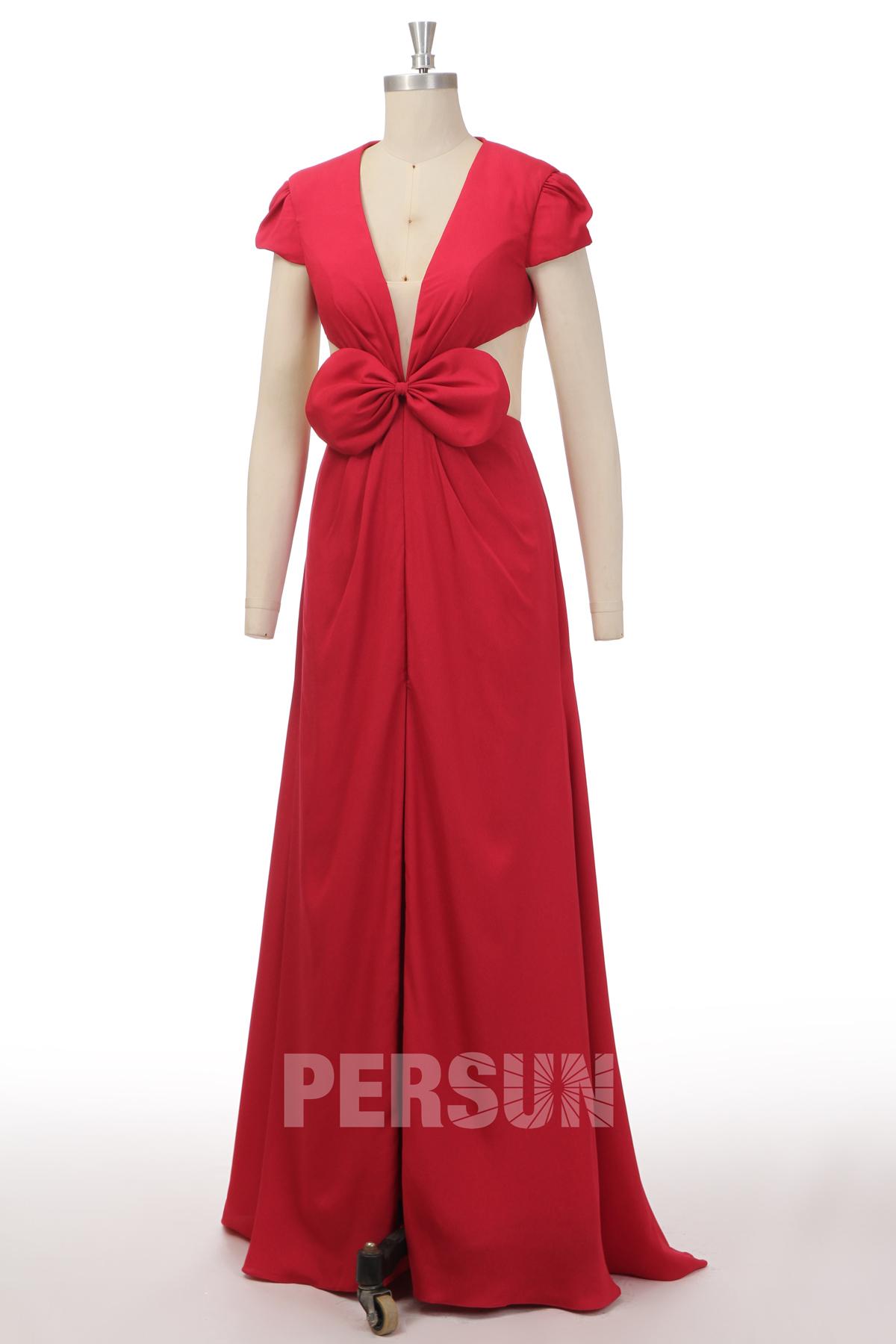 sexy robe de soirée rouge longue col v plongeant coté transparent taille ornée de noeud papillon