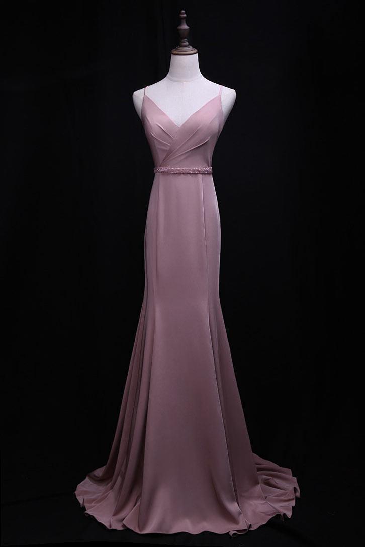 robe de soirée rose sirène élégante col v à bretelles spaghetti avec traîne chapelle