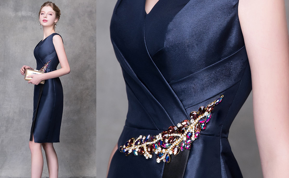 robe courte de cocktail bleu nuit pas cher pour femme tendance 2019
