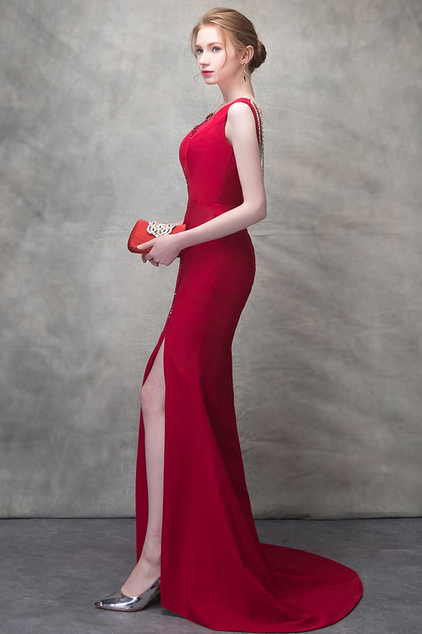91f9231df10 Robe longue de soirée rouge sirène avec fente latérale - JMRouge.fr