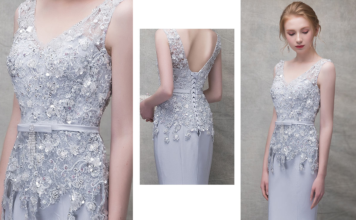 robe de gala sirène tendance 2019 orné de dentelle & paillettes