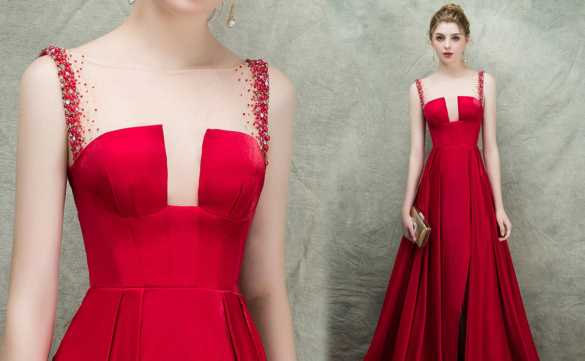 robe Rouge longue fendue encolure illusion garni de strass pour vernissage