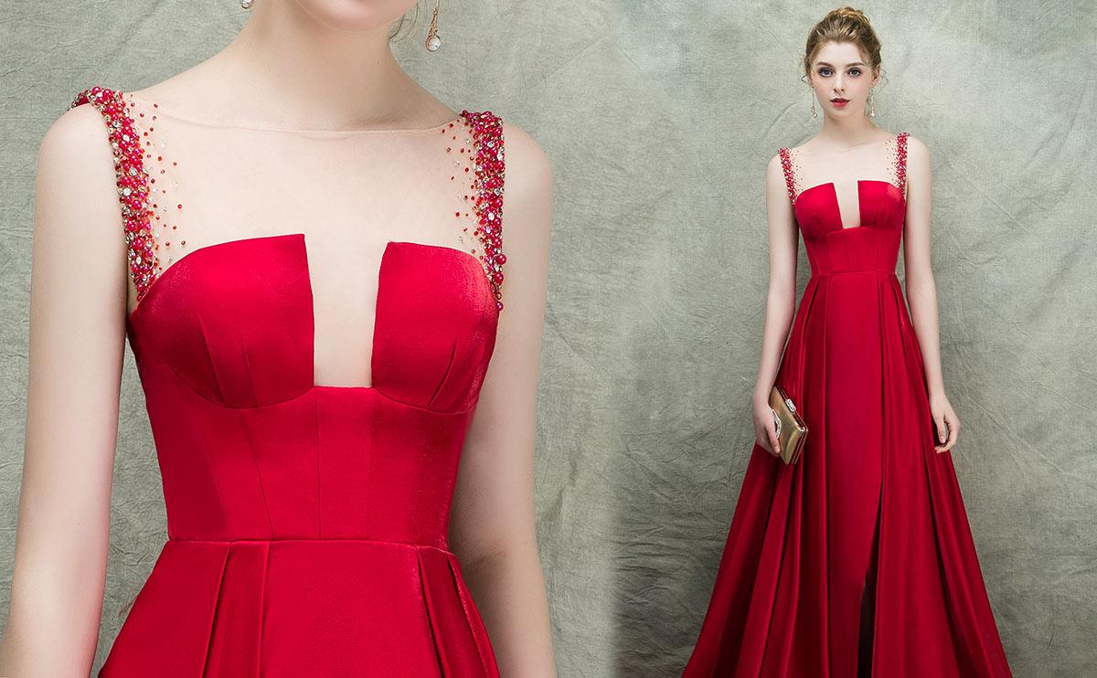 robe de cérémonie rouge longue encolure illusion 2019