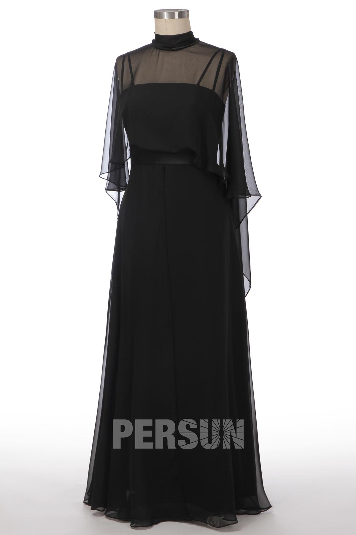 robe de soirée longue noire élégant avec cape