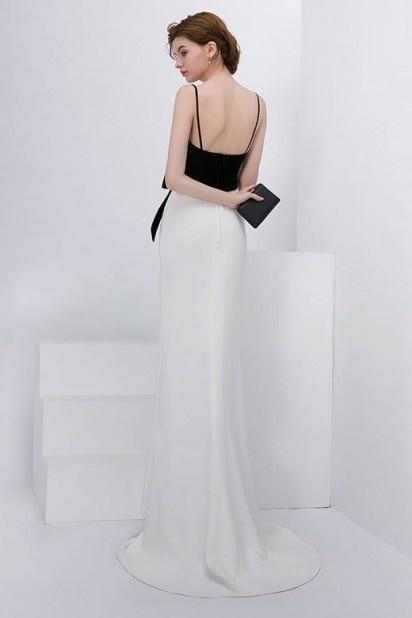 0958a2dfe75 Chic robe de soirée longue bicolore à col v avec nœud - Persun.fr