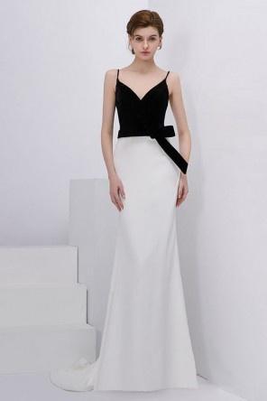 Chic robe de soirée longue bicolore à col v avec nœud