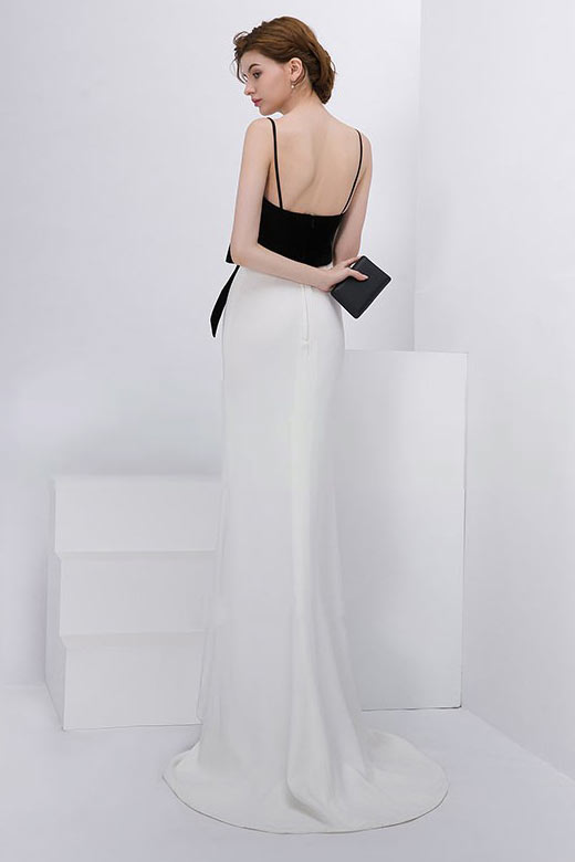 Robe de soirée blanche & noire sirène simple col en V