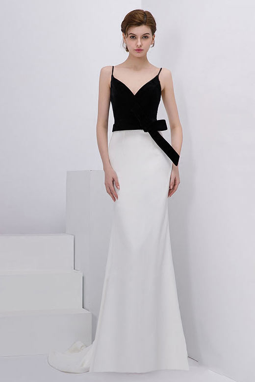 robe de cocktail sirène noire et blanche longue col v taille embelli noeud