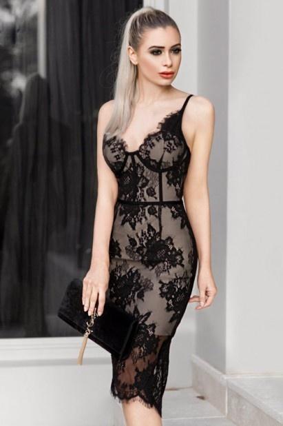 petite robe noire fourreau sexy en dentelle 2019