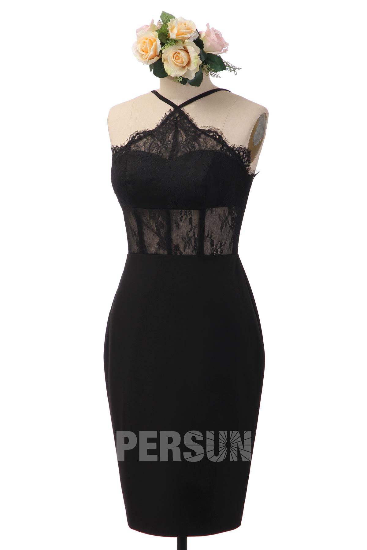 petite robe noire sexy fourreau col halter en dentelle transparent