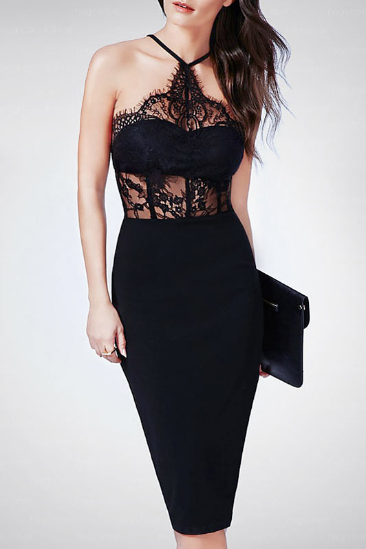 achat original classique chic ramassé Robe de soirée sexy noire fourreau à haut en dentelle ...