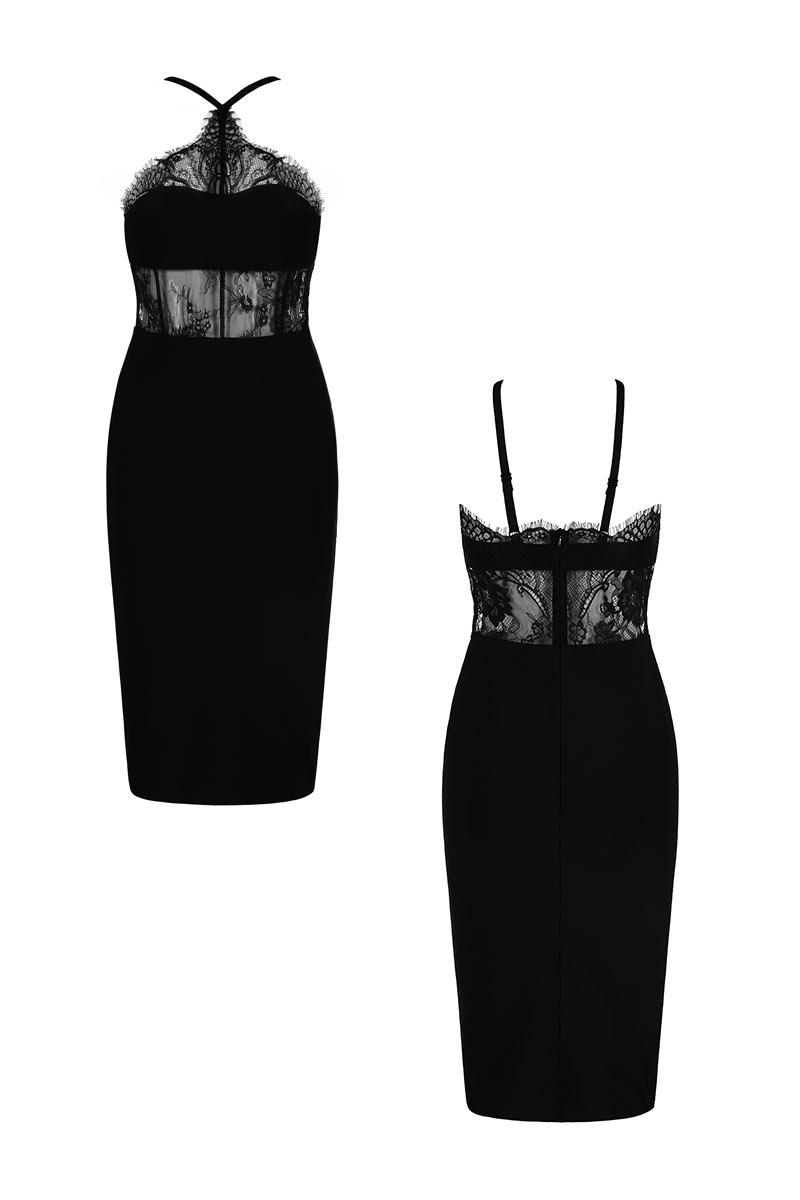 Robe de soirée sexy noire fourreau à haut en dentelle