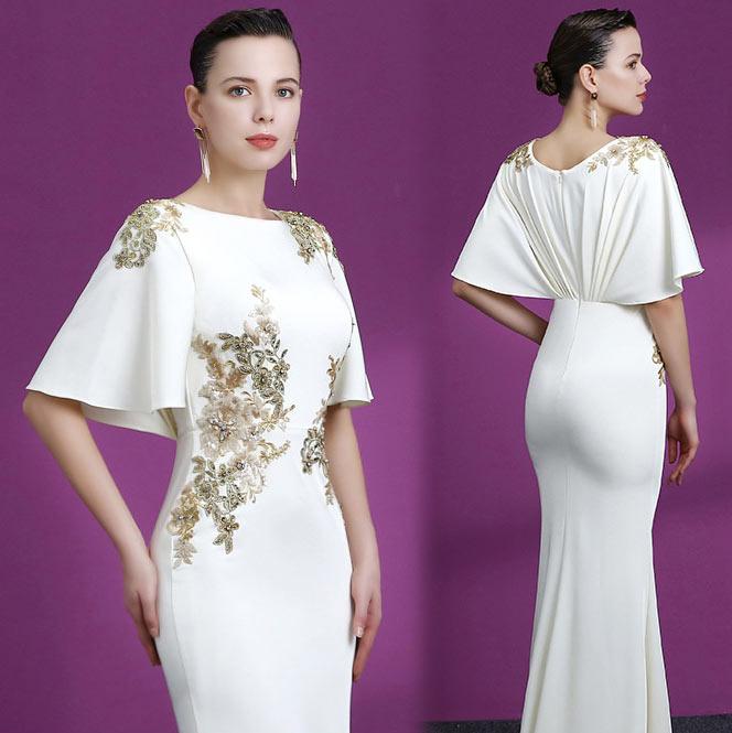 robe de cérémonie longue blanche sirène avec appliques et bijoux nouveauté 2019