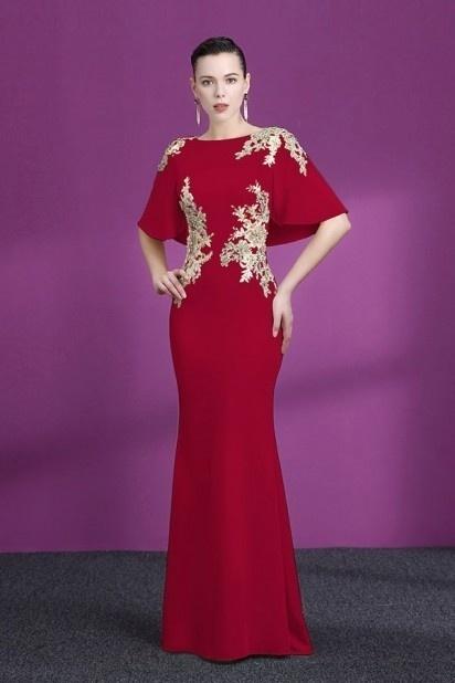 robe de soirée rouge longue sirène avec dentelle dorée