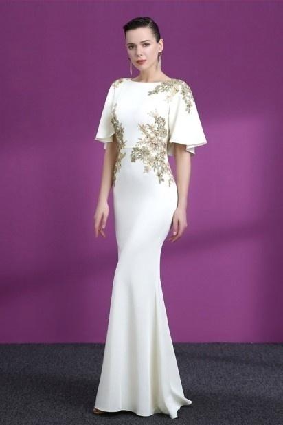 robe de soirée blanche appliqué de guipure dorée