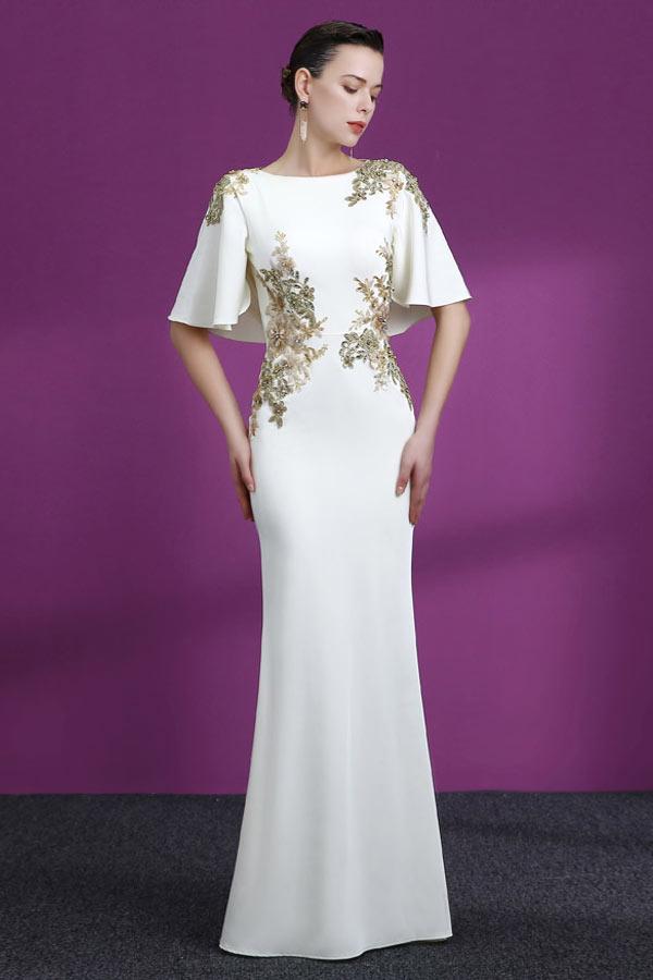 robe de soirée blanche sirène appliquée dorée à manches capes