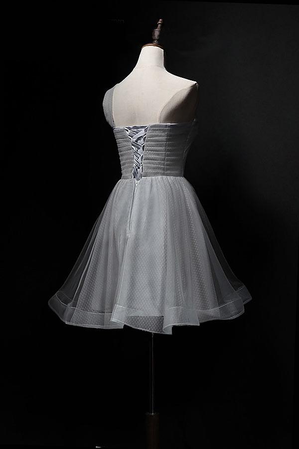 Robe cocktail mariage grise courte asymétrique orné d'un grand noeud