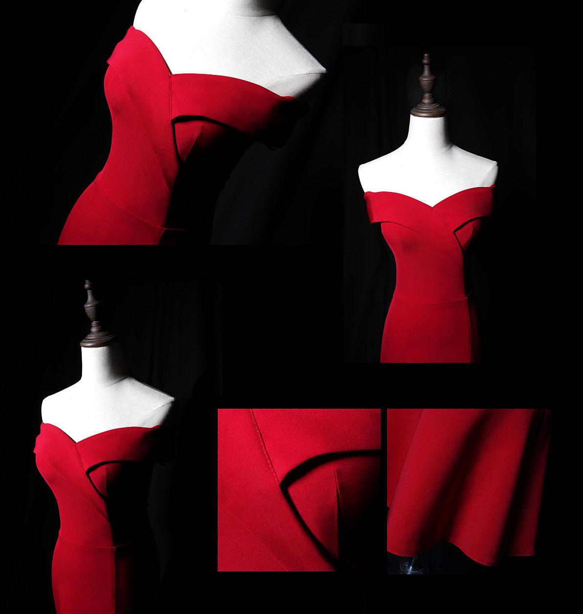 robe De soirée rouge sirène midi 2019 épaule dénudé jupe à volants