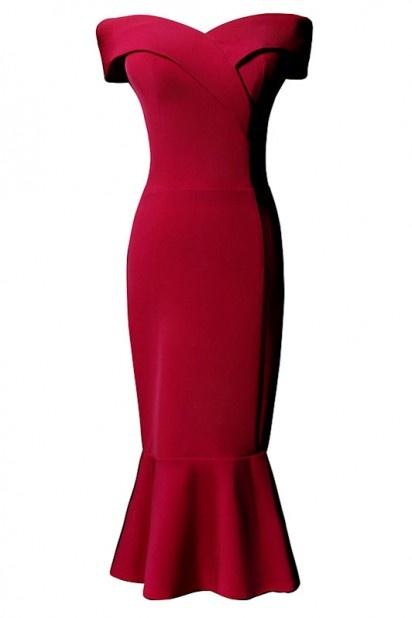 robe de soirée rouge sirène col bardot 2019