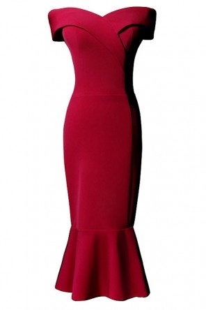 Robe de soirée midi rouge sirène col bardot