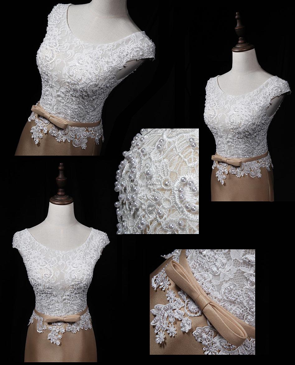 robe De fiançailles sirène bicolore appliqué de dentelle & perles