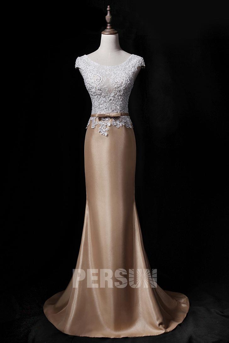 robe de soirée longue sirène bicolore haut en dentelle florale embelli de perles