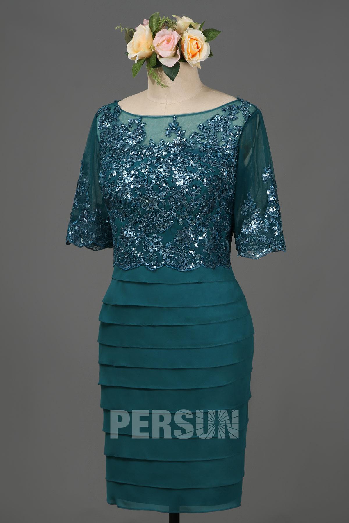 robe soirée vert pin courte fourreau haut en dentelle & paillettes avec manches