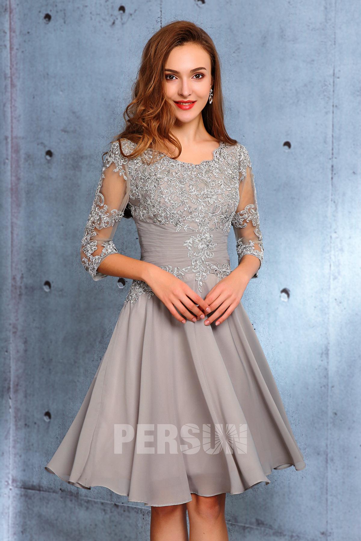 robe invité de mariage gris courte haut en dentelle avec manche mi-longue transparent