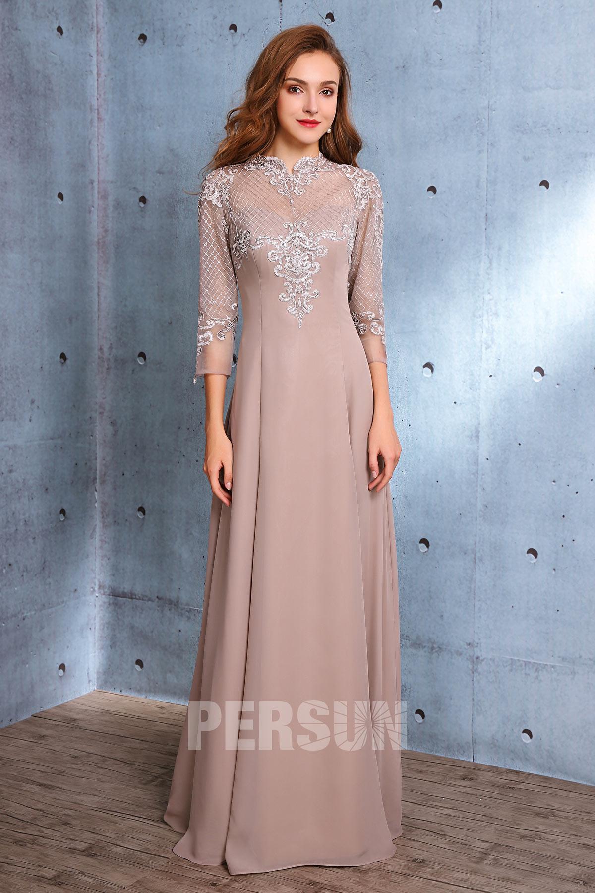 Vintage robe de soirée longue à col festonné avec manche 3 / 4