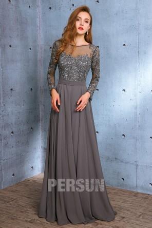 Robe longue de soirée grise à manche longue avec appliques & paillettes