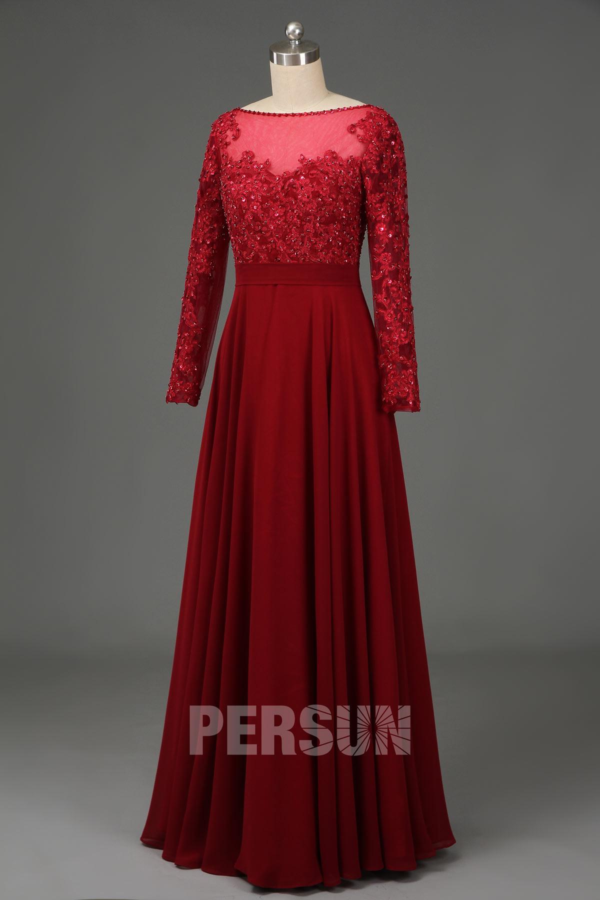 robe demoiselle d'honneur longue bordeaux col illusion manche longue en dentelle
