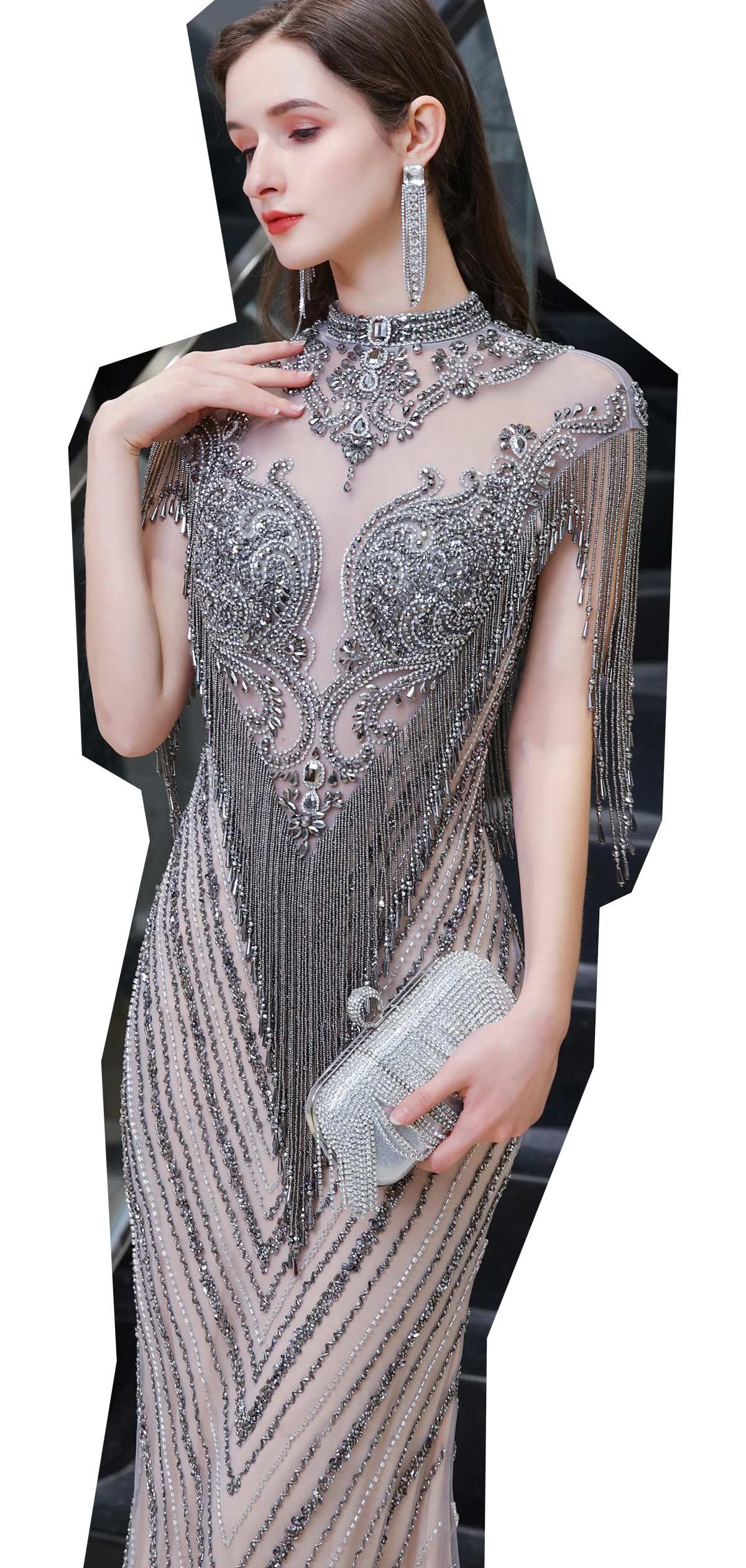 robe de soirée de luxe 2021 sirène haut transparent