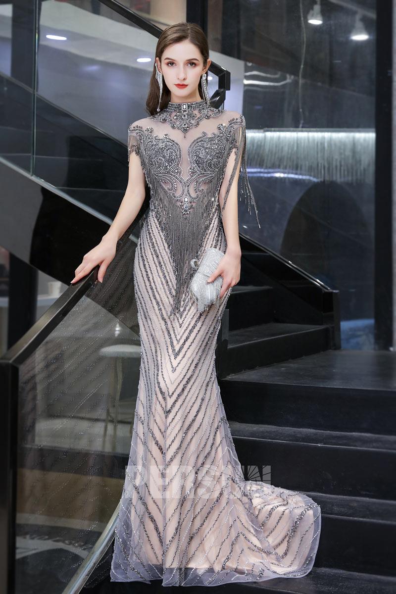 robe de soirée sirène sexy col haut illusion embelli de strass et franges