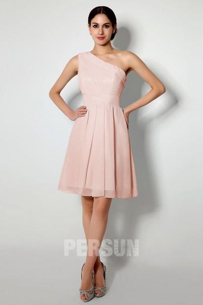 Robe rose pâle courte bustier asymétrique pour cortège mariage