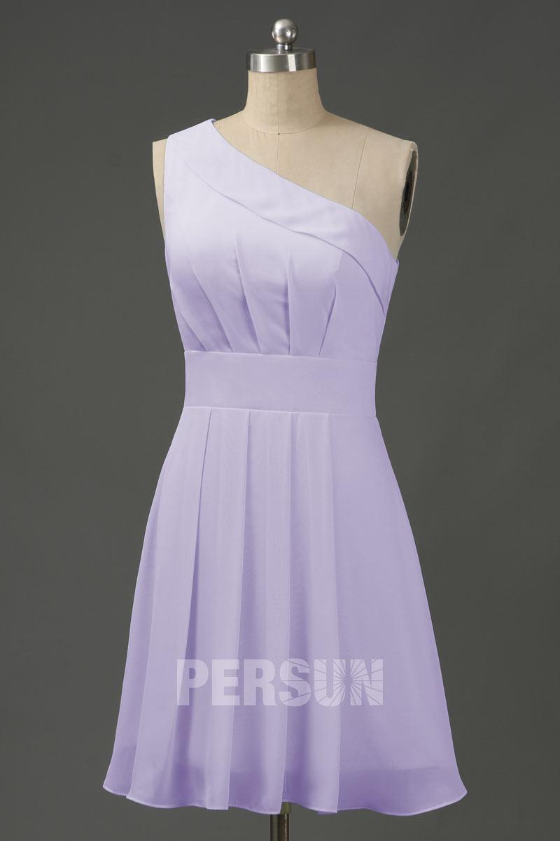 robe demoiselle d'honneur courte lilas asymétrique simple