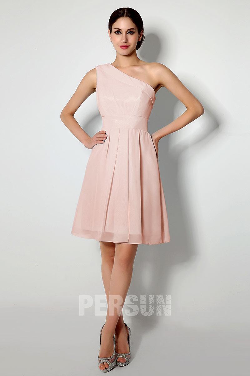 robe de cocktail courte asymétrique rose plissé