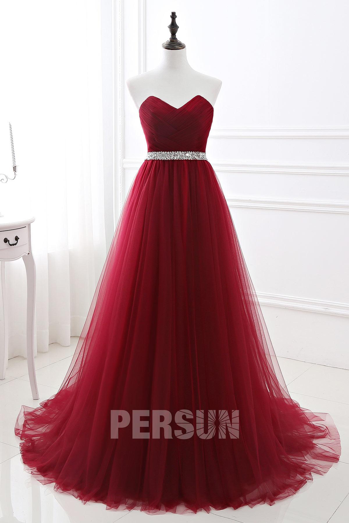 robe de soirée longue rouge bordeaux bustier coeur plissé taille ornée de strass