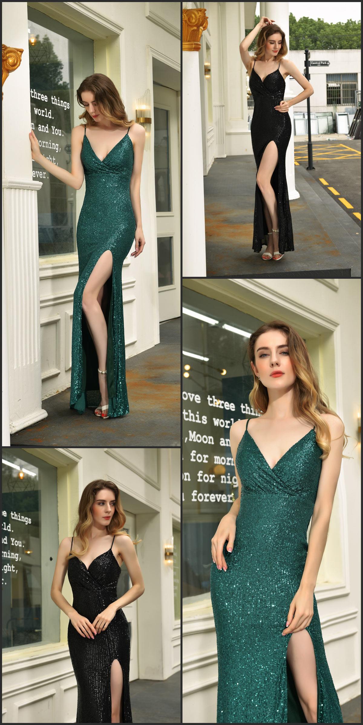 robe gala sexy noir vert pas cher fendue moulante en sequin brillant