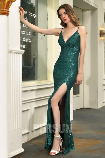 Sexy robe gala vert sapin fendue cache coeur en sequin
